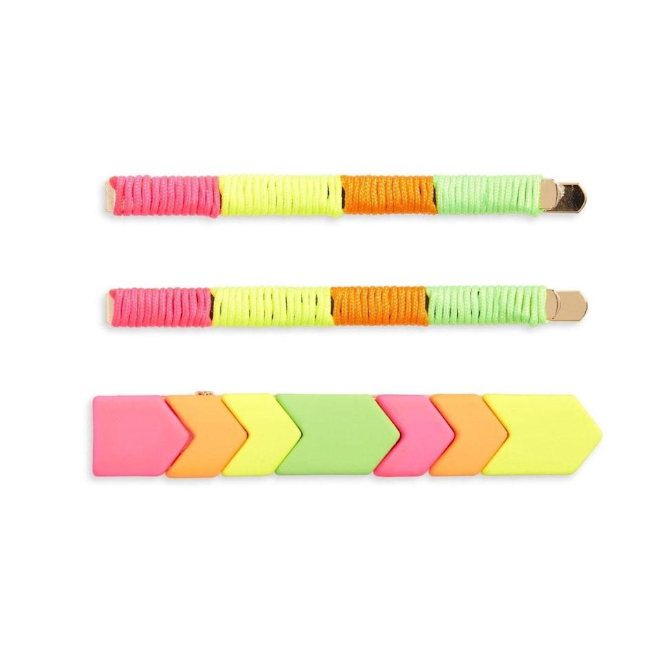 """<p>A little touch of neon in the hair is a nice way to brighten up any day — especially if you don't plan on leaving the house. This BP. Geo Tile 3-Pack Hair Clips comes with two bobby pins that are covered in neon strings and a larger clip decorated in a retro chevron pattern. </p> <p><strong>$19</strong> (<a href=""""https://cna.st/affiliate-link/56DCwaYCXLtAj8u7TVqdYL9BgkxyGTz18jTT7Wy3zc6RjHFTRQHYbW5W2FudjAE2dVbZKLHNbpsfuMC92rgSzf3w15KUFeqKWrcR9S9F3fAAJ2irGGy7eWwtdRYiejtDTt?cid=601d658451af6ffd74072dc2"""" rel=""""nofollow noopener"""" target=""""_blank"""" data-ylk=""""slk:Shop Now"""" class=""""link rapid-noclick-resp"""">Shop Now</a>)</p>"""