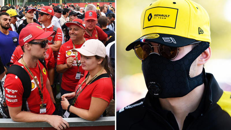 Chaotic scenes as the Australian Grand Prix, pictured here as fans were left in the dark and drivers wore face masks.
