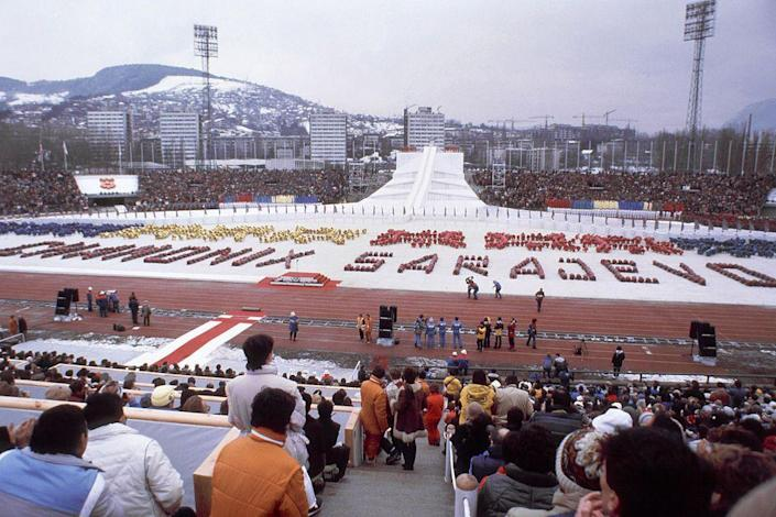 """<p>The Olympic flag was first raised upside down during the ceremony, an unfortunate mistake. The <a href=""""https://www.olympic.org/sarajevo-1984-mascot"""" rel=""""nofollow noopener"""" target=""""_blank"""" data-ylk=""""slk:mascot of the Winter Games"""" class=""""link rapid-noclick-resp"""">mascot of the Winter Games</a>, a wolf named Vučko<span class=""""redactor-invisible-space"""">, was chosen via newspaper contest. </span></p>"""