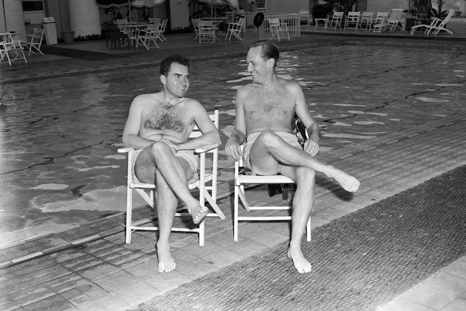 <p>Senator Richard Nixon relaxes while preparing a television speech at an L.A. hotel pool in 1952. </p>