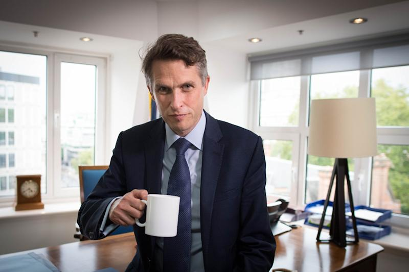 Gavin Williamson in his office at the Department for Education on Monday following the U-turn. (PA)