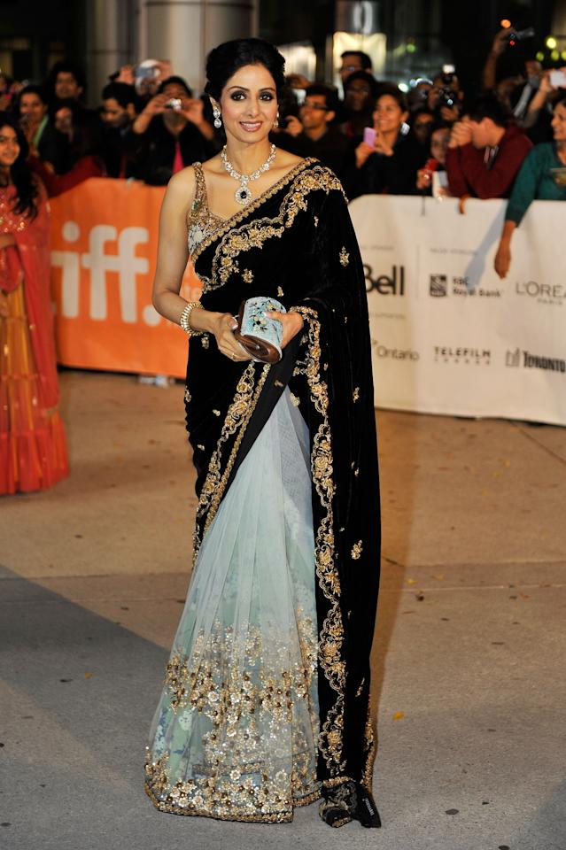 "BEST: Indian actress Sridevi Kapoor is absolutely stunning at the premiere of ""English Vinglish."" Dressed in traditional Indian apparel, Sridevi is a total knockout. Wow!"