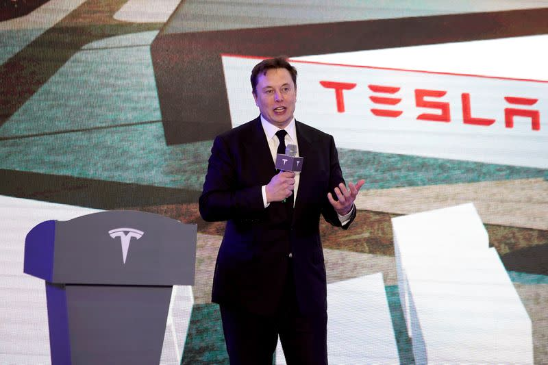 FILE PHOTO: Tesla Inc CEO Elon Musk speaks at an opening ceremony for Tesla China-made Model Y program in Shanghai