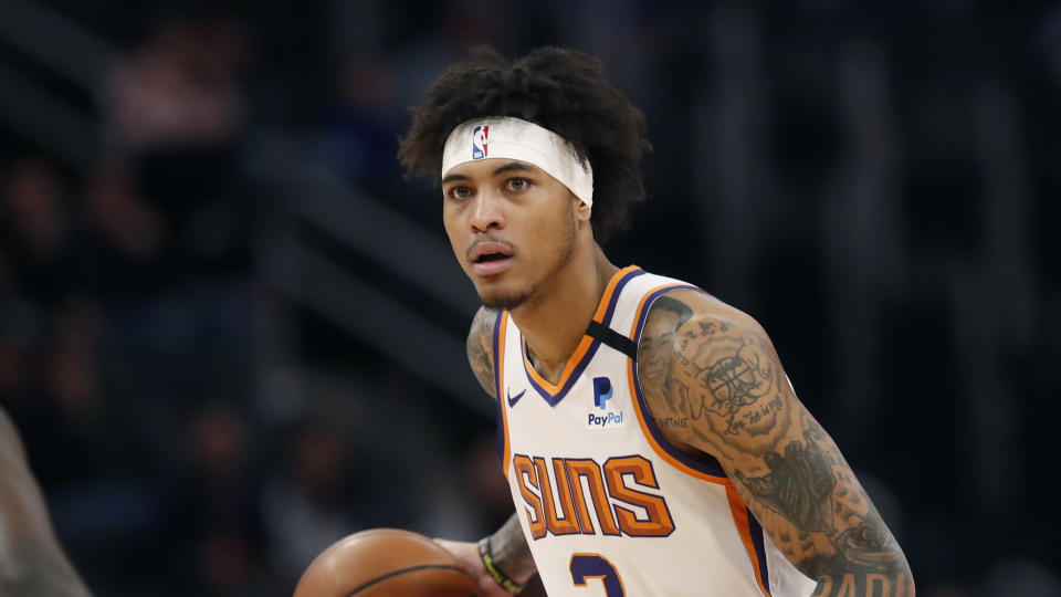 Phoenix Suns forward Kelly Oubre Jr. is seen during the first half of an NBA basketball game, Wednesday, Feb. 5, 2020, in Detroit. (AP Photo/Carlos Osorio)