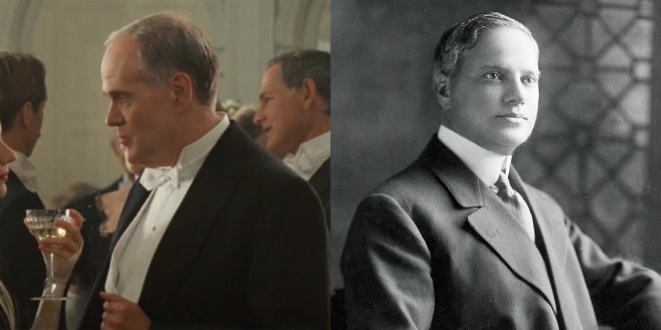 <p>Benjamin Guggenheim, played by Michael Ensign in <em>Titanic</em>, was a wealthy American businessman who boarded the ship with his mistress, Léontine Aubart. He died during the sinking with his valet, Victor Giglio. His brother, Solomon Guggenheim, is the Guggenheim whose name is on <em>the </em>Guggenheim in NYC. </p>