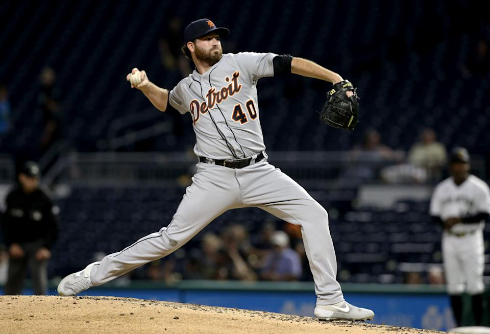 Detroit Tigers reliever Drew Hutchison pitches against the Pittsburgh Pirates during the fourth inning at PNC Park, Sept. 8, 2021 in Pittsburgh.