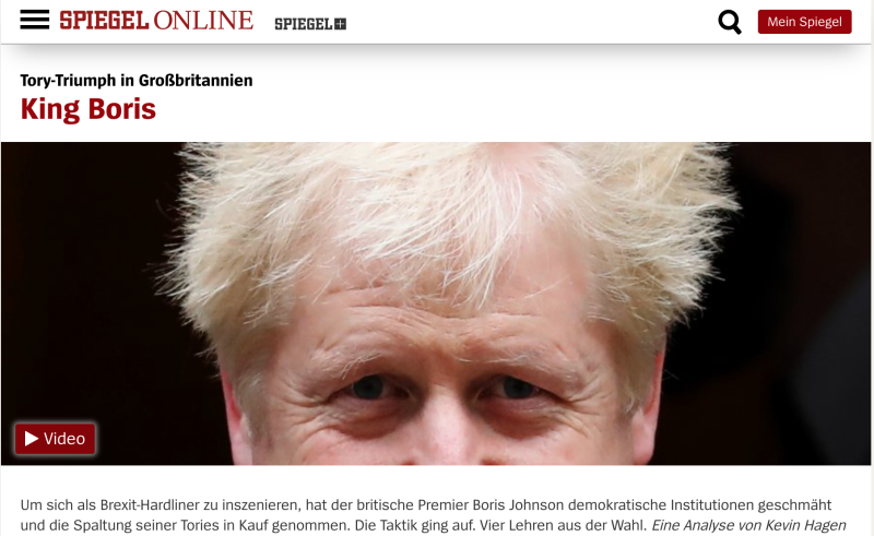 "Leading German political magazine Der Spiegel's ""King Boris"" front page. Credit: Der Spiegel"
