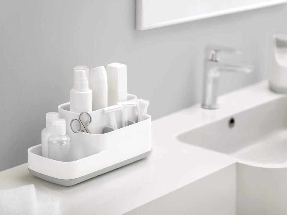 "<p>This popular <a href=""https://www.popsugar.com/buy/Joseph-Joseph-EasyStore-Bathroom-Storage-Organizer-Caddy-551635?p_name=Joseph%20Joseph%20EasyStore%20Bathroom%20Storage%20Organizer%20Caddy&retailer=amazon.com&pid=551635&price=18&evar1=casa%3Aus&evar9=47251564&evar98=https%3A%2F%2Fwww.popsugar.com%2Fhome%2Fphoto-gallery%2F47251564%2Fimage%2F47252513%2FJoseph-Joseph-EasyStore-Bathroom-Storage-Organizer-Caddy&list1=cleaning%2Corganization%2Cspring%20cleaning%2Csmall%20space%20living%2Cbathrooms%2Chome%20organization&prop13=mobile&pdata=1"" class=""link rapid-noclick-resp"" rel=""nofollow noopener"" target=""_blank"" data-ylk=""slk:Joseph Joseph EasyStore Bathroom Storage Organizer Caddy"">Joseph Joseph EasyStore Bathroom Storage Organizer Caddy</a> ($18) has thousands of rave reviews.</p>"