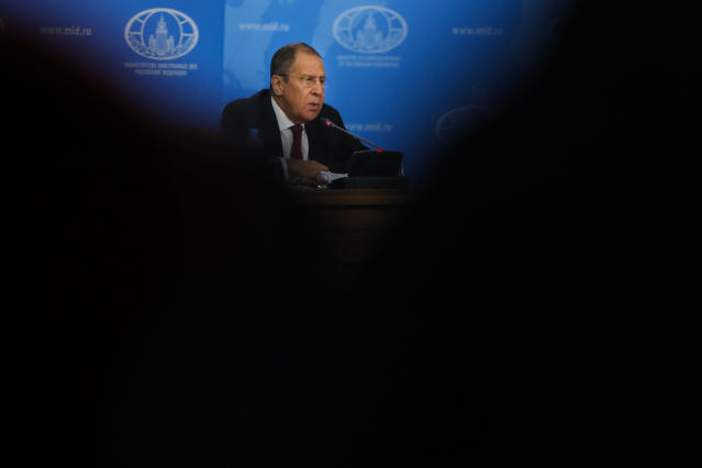 Russian Foreign Minister Sergey Lavrov speaks about his department's 2018 accomplishments during his annual roundup news conference in Moscow, Russia, Wednesday, Jan. 16, 2019. Russia's foreign minister says that the U.S. has ignored Moscow's proposal to inspect a Russian missile that Washington says has violated a nuclear arms treaty. (AP Photo/Pavel Golovkin)