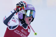 France's Tessa Worley reacts after completing an alpine ski, women's World Cup giant slalom, in Kranjska Gora, Slovenia, Saturday, Jan. 16, 2021. (AP Photo/Giovanni Auletta)