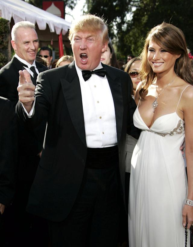 <p>Donald and Melania Trump at the 56th Annual Primetime Emmy Awards in Los Angeles. <i>(Photo: Dan MacMedan/WireImage)</i> </p>