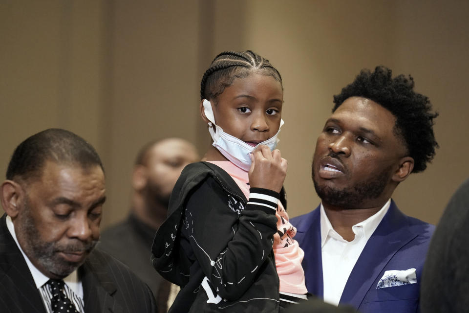 Gianna Floyd, the daughter of George Floyd, joins family and supporters during a news conference after the verdict was read in the trial of former Minneapolis Police Officer Derek Chauvin, Tuesday, April 20, 2021, in Minneapolis. (AP Photo/John Minchillo)