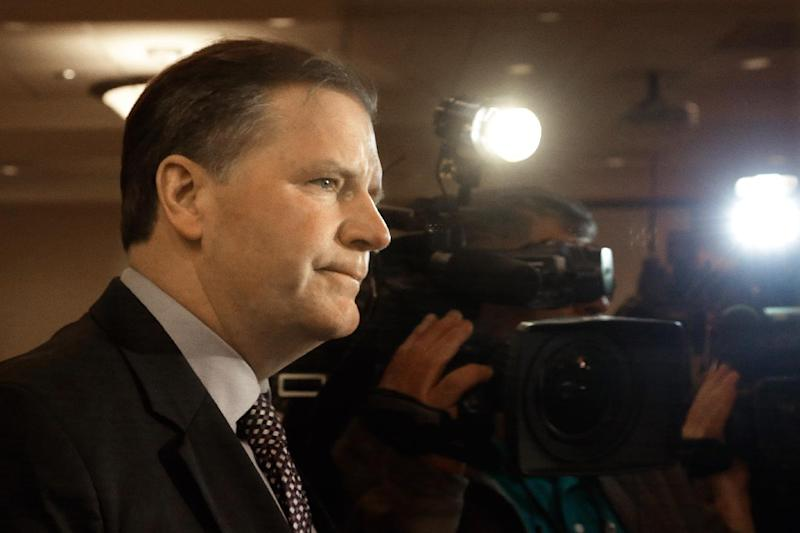 Illinois Republican gubernatorial candidate State Sen. Bill Brady speaks with reporters during his election night party Tuesday, March 18, 2014 in Bloomington Ill. (AP Photo/Seth Perlman)