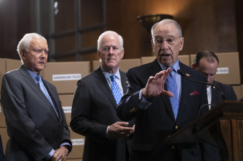 Senate Judiciary Chairman Chuck Grassley R-Iowa joined from left by Sen. Orrin Hatch R-Utah Sen. John Cornyn R-Texas and Sen. Mike Lee R-Utah holds a news conference to refute Senate Democrats who are intensifying their fight over documents relate