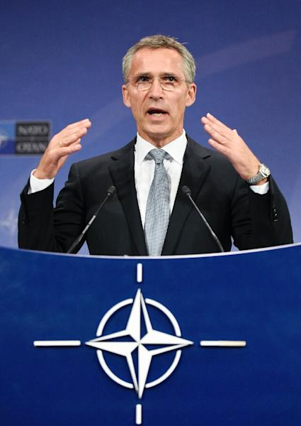 NATO Secretary-General Jens Stoltenberg gives a press conference following a Defence minister meeting at the NATO Headquarters in Brussels on October 8, 2015 (AFP Photo/John Thys)