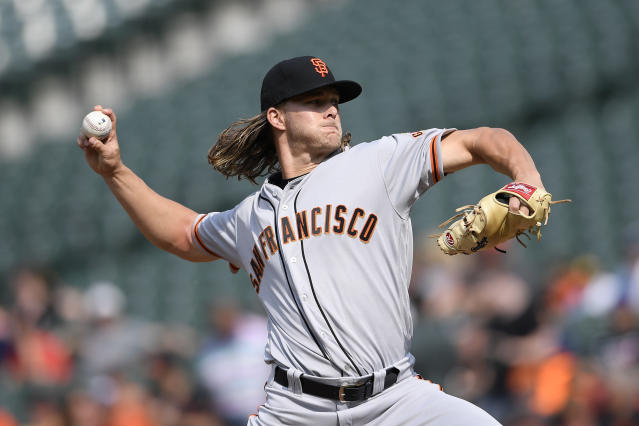 San Francisco Giants starting pitcher Shaun Anderson delivers during the first inning of a baseball game against the Baltimore Orioles, Saturday, June 1, 2019, in Baltimore. (AP Photo/Nick Wass)