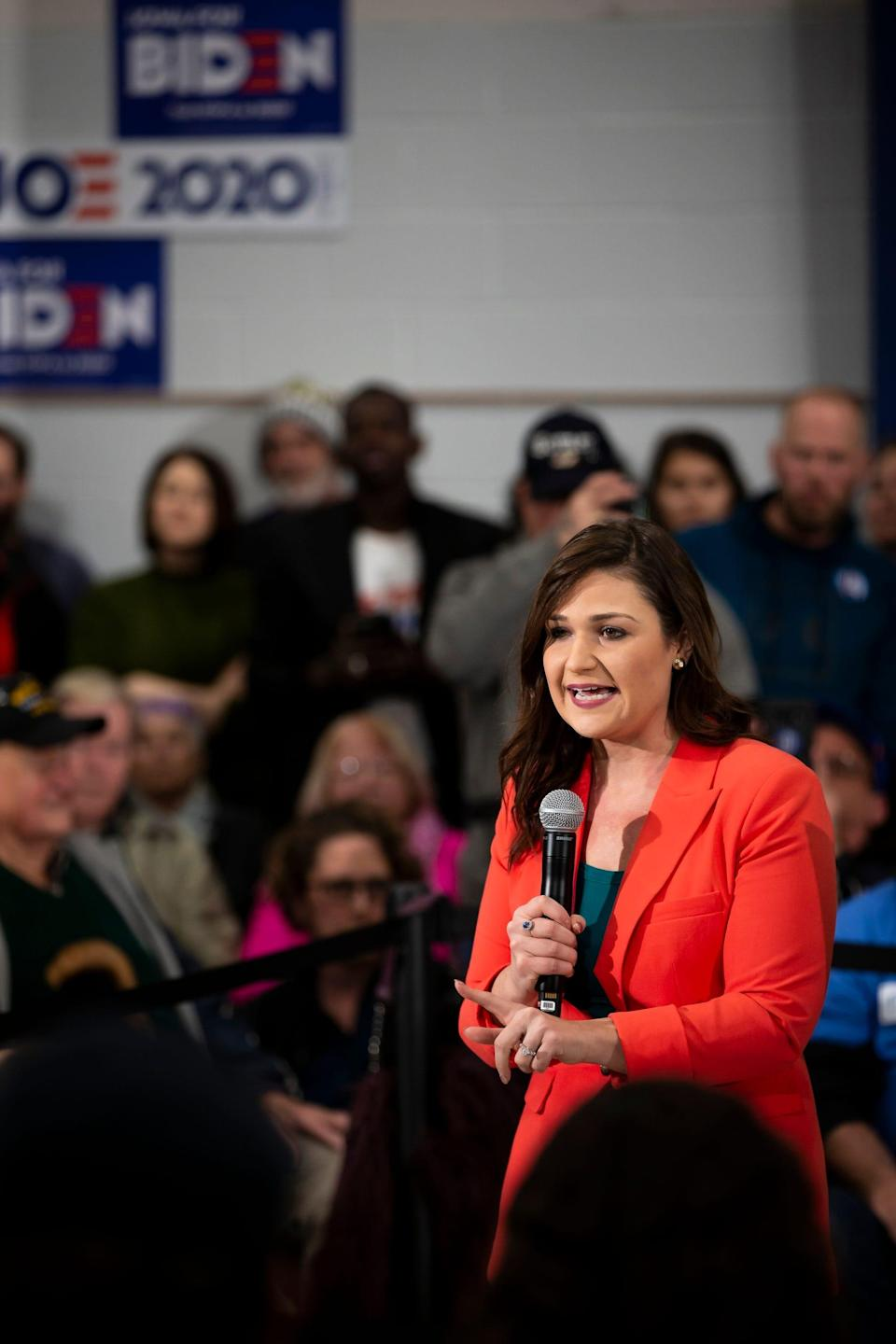 Democratic Congresswoman Abby Finkenauer introduces Former Vice-President and 2020 Democratic presidential candidate Joe Biden during a campaign event at McKinley Elementary school on Saturday, Jan. 4, 2020, in Des Moines.
