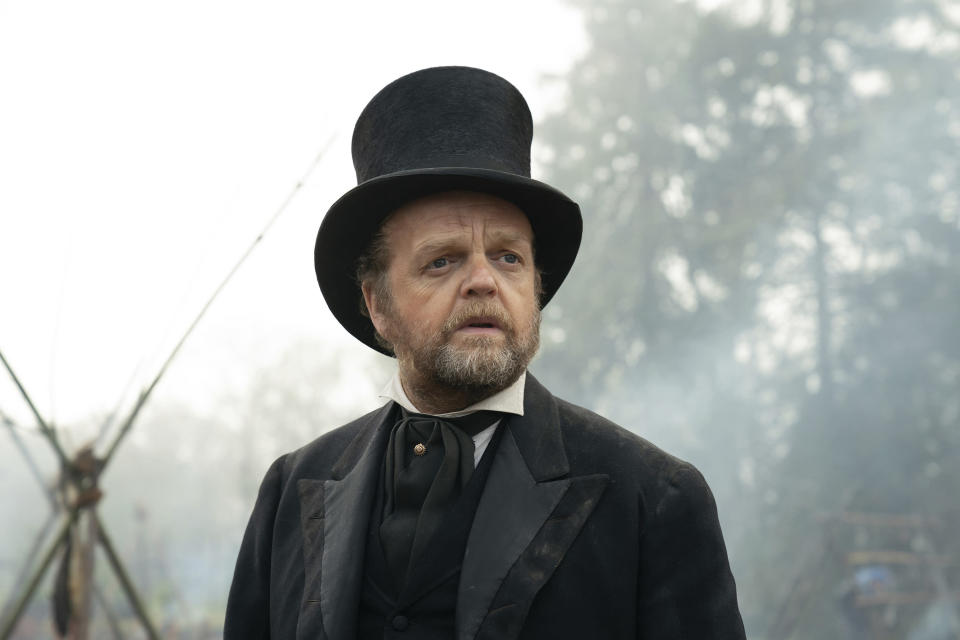 """This image released by A24 Films shows Toby Jones in a scene from """"First Cow."""" (Allyson Riggs/A24 Films via AP)"""