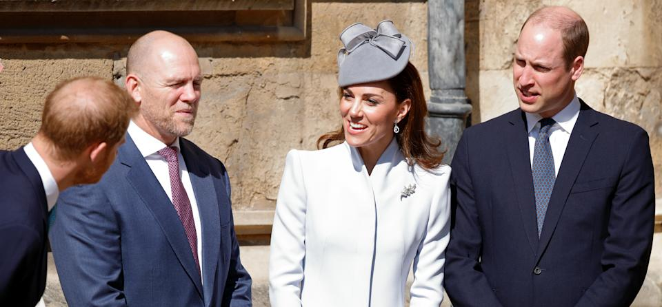 WINDSOR, UNITED KINGDOM - APRIL 21: (EMBARGOED FOR PUBLICATION IN UK NEWSPAPERS UNTIL 24 HOURS AFTER CREATE DATE AND TIME) Prince Harry, Duke of Sussex, Mike Tindall, Catherine, Duchess of Cambridge and Prince William, Duke of Cambridge attend the traditional Easter Sunday church service at St George's Chapel, Windsor Castle on April 21, 2019 in Windsor, England. Easter Sunday this year coincides with Queen Elizabeth II's 93rd birthday. (Photo by Max Mumby/Indigo/Getty Images)