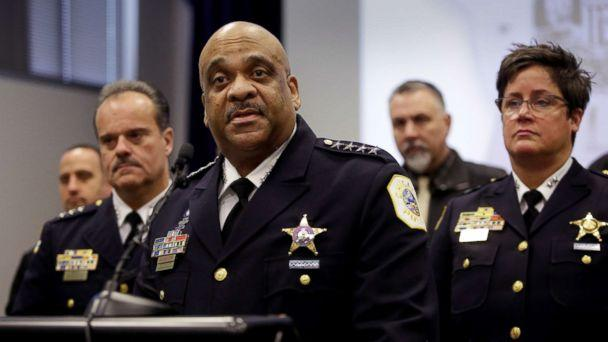 PHOTO: Chicago Police Superintendent Eddie Johnson speaks about the Jussie Smollett case at a news conference at Chicago Police headquarters in Chicago, Illinois, Feb. 21, 2019. (Joshua Lott/Reuters)