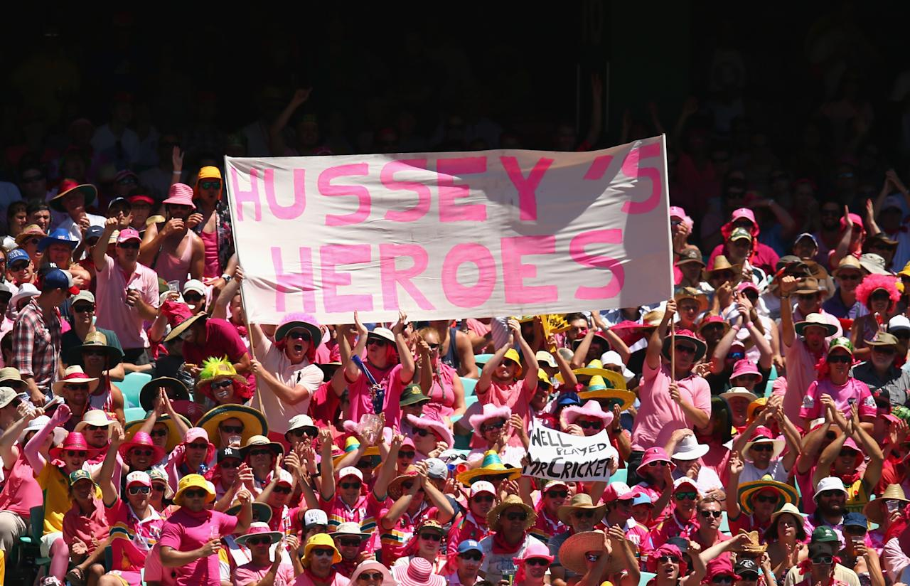 SYDNEY, AUSTRALIA - JANUARY 05:  Fans dressed in pink cheer on Jane McGrath day during day three of the Third Test match between Australia and Sri Lanka at Sydney Cricket Ground on January 5, 2013 in Sydney, Australia.  (Photo by Ryan Pierse/Getty Images)