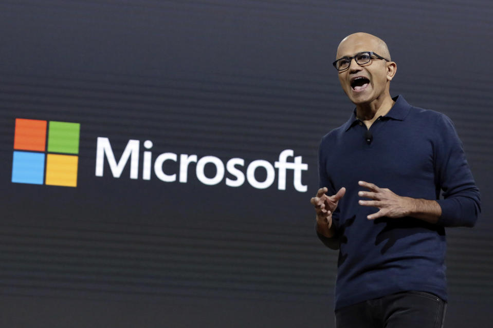 Microsoft CEO Satya Nadella addresses a Microsoft media event in New York, Wednesday, Oct. 26, 2016. Microsoft wants to bring life to common computing experiences by adding a third dimension to widely used software such as Windows and Office. (AP Photo/Richard Drew)