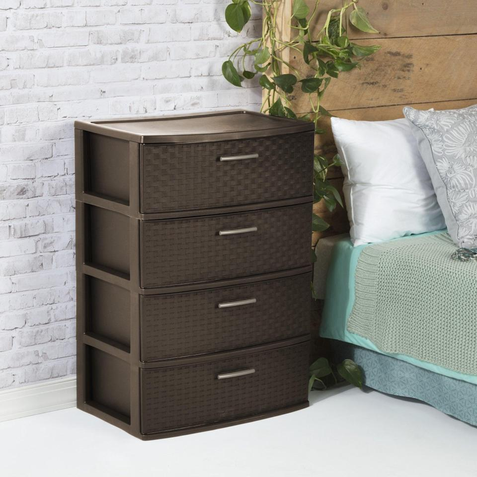 <p>The <span>Sterilite 4 Drawer Wide Weave Tower Espresso</span> ($37) is a sleek drawer set that will add extra storage for any room. It can serve has an extra bedside table, an organizwer for your work from home office, or even your at home gym!</p>