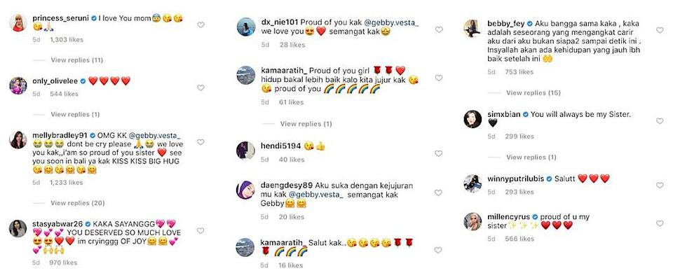 Comments from celebrities and social media users praising Gebby for her bravery and honesty. — Image via Instagram/@gebby.vesta_