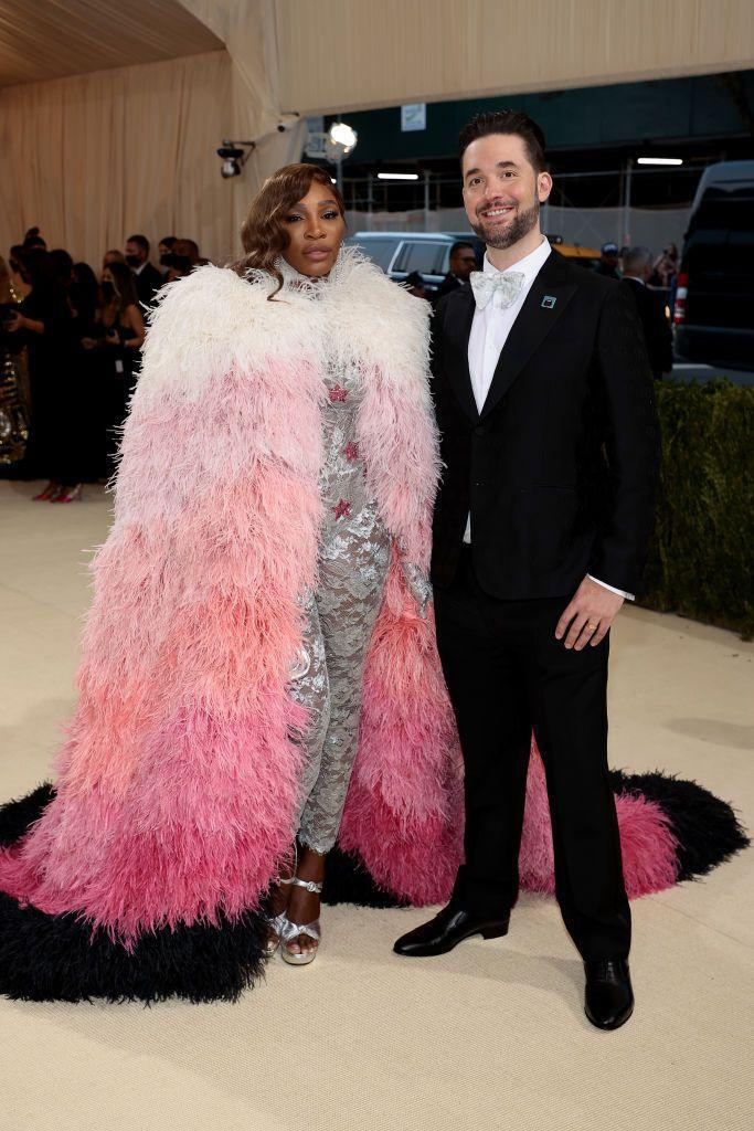 <p>Tennis player Williams wore a lace bodysuit and feathered cape by Gucci, while her husband Ohanian opted for a tux. </p>
