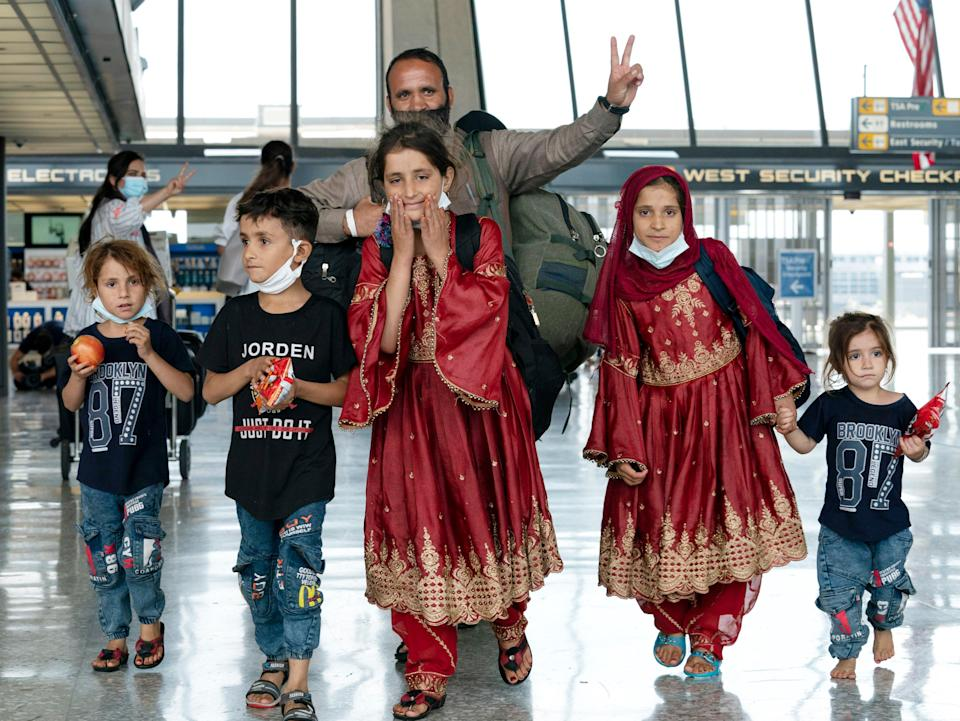 A family arrives in the US from Kabul (AP)