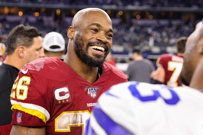 The Washington Redskins have exercised Adrian Peterson's option for 2020. (Photo by Andrew Dieb/Icon Sportswire via Getty Images)