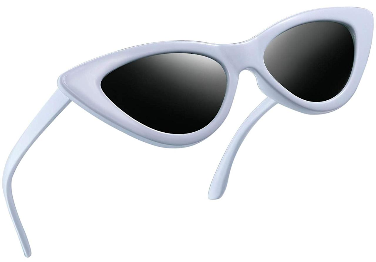 "<p>These white <product href=""https://www.amazon.com/Polarized-Sunglasses-Vintage-Cateye-Glasses/dp/B07DTDCNH9/ref=sr_1_3_sspa?s=apparel&amp;ie=UTF8&amp;qid=1540851244&amp;sr=1-3-spons&amp;nodeID=2474971011&amp;psd=1&amp;keywords=sunglasses&amp;psc=1"" target=""_blank"" class=""ga-track"" data-ga-category=""internal click"" data-ga-label=""https://www.amazon.com/Polarized-Sunglasses-Vintage-Cateye-Glasses/dp/B07DTDCNH9/ref=sr_1_3_sspa?s=apparel&amp;ie=UTF8&amp;qid=1540851244&amp;sr=1-3-spons&amp;nodeID=2474971011&amp;psd=1&amp;keywords=sunglasses&amp;psc=1"" data-ga-action=""body text link"">Polarized Cat Eye Sunglasses</product> ($10, originally $20) are super flattering. </p>"
