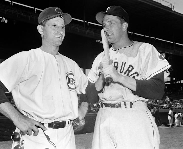 FILE - In this April 23, 1951 file photo, Chicago Cubs outfielder Andy Pafko, left, chats with Pittsburgh Pirates Ralph Kiner before a baseball game at Wrigley Field in Chicago. Pafko, a four-time All-Star who played on the last Chicago Cubs team to reach the World Series, has died at age 92. Pafko died Tuesday, Oct. 8, 2013 of apparent natural causes, according to Kraig Pike, the director of the Pike Funeral Home in Bridgman, Mich. Pafko also played for the Brooklyn Dodgers and the Milwaukee Braves, and played in four World Series during 17 years in the major leagues. (AP Photo/File)