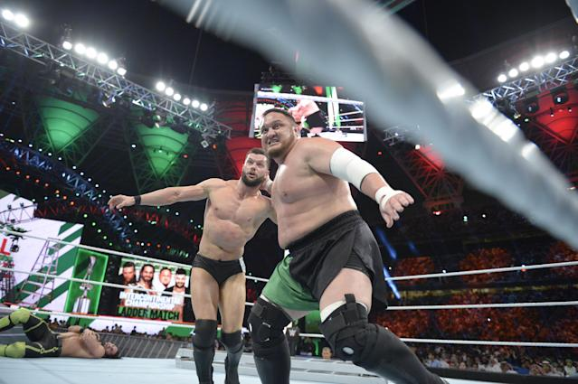 "WWE superstar Samoa Joe is seen at the ""Greatest Royal Rumble"" in Jeddah, Saudi Arabia on April 27, 2018. (Photo courtesy of WWE)"