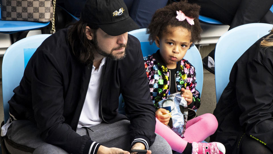 Serena Williams' husband Alexis Ohanian and daughter Alexis Olympia, pictured here watching her play.
