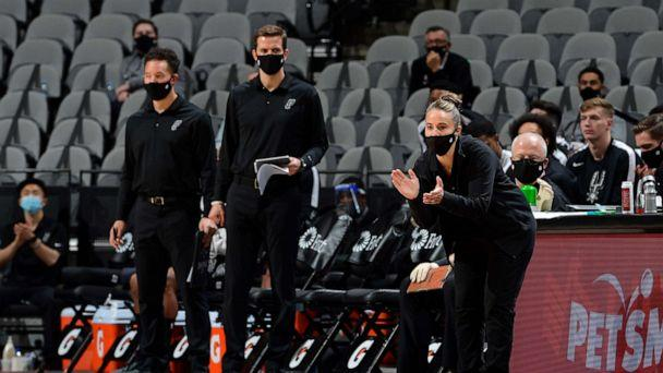 PHOTO: Assistant Coach Becky Hammon of the San Antonio Spurs coaches during the game against the Los Angeles Lakers, Dec. 30, 2020, in San Antonio, Texas. (Logan Riely/NBAE via Getty Images)