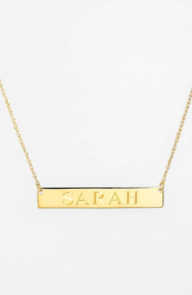 <p>You can write up to 12 characters on this pretty <span>Jane Basch Designs Personalized Bar Pendant Necklace</span> ($98).</p>