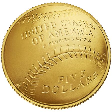 An image of a baseball mitt is seen on a curved $5 gold National Baseball Hall of Fame Commemorative Coin