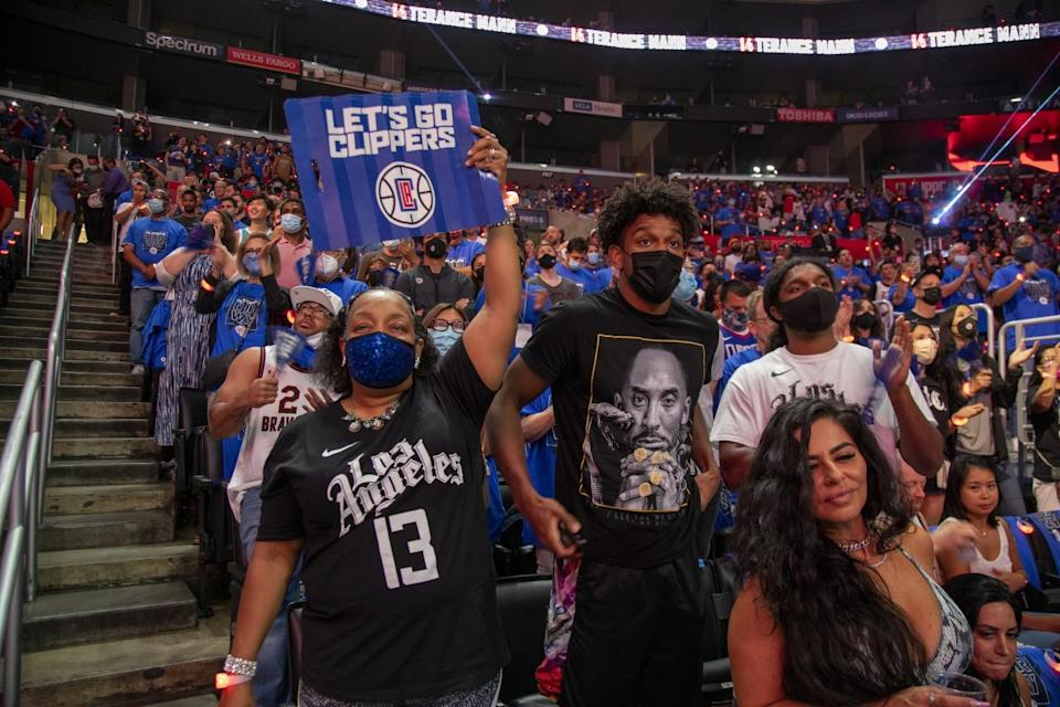 Clippers fans cheer on the team during Game 6 of the NBA Western Conference semifinals.