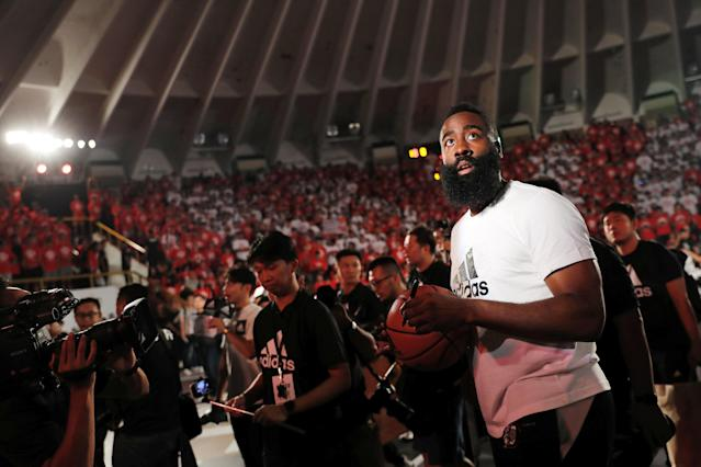 NBA player James Harden of the Houston Rockets attends a promotional event in Taipei, Taiwan July 5, 2018. REUTERS/Tyrone Siu