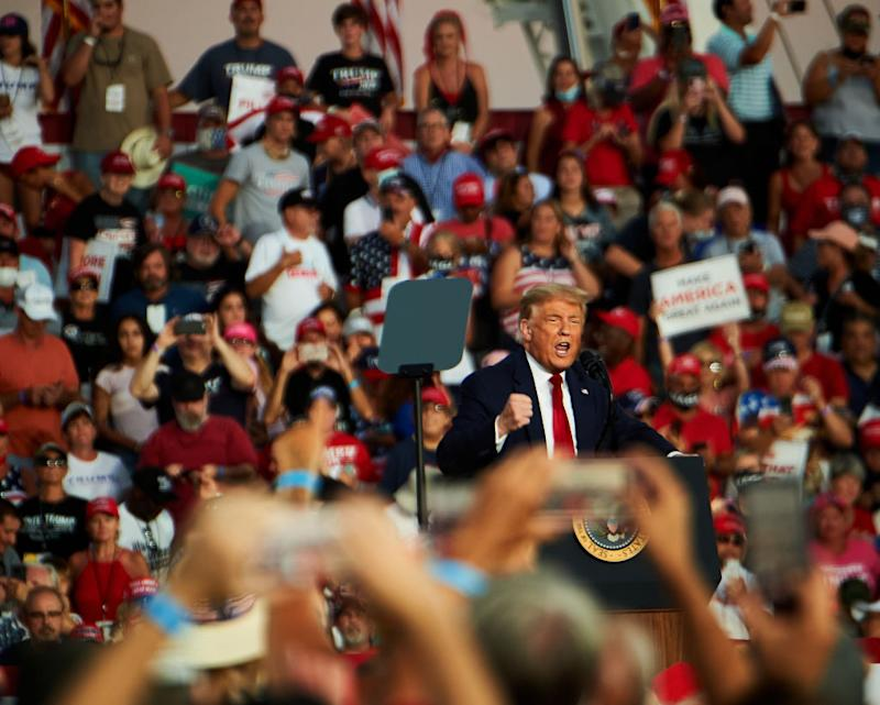 President Donald Trump speaks during a campaign rally in Florida.