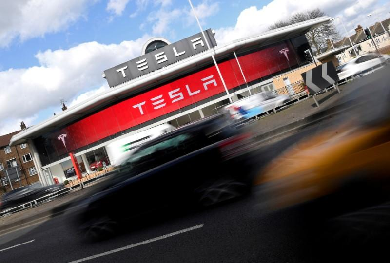 FILE PHOTO -- A Tesla car showroom is seen in west London, Britain