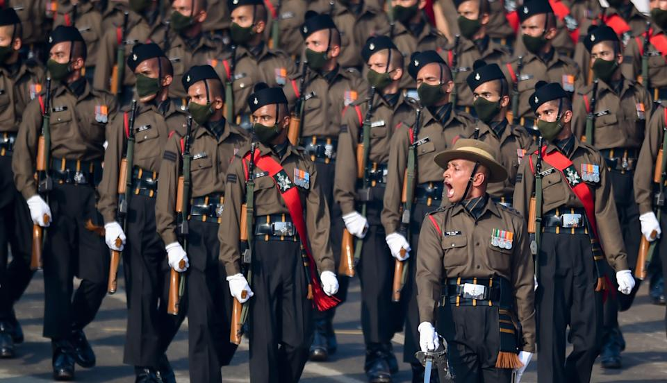 New Delhi: Members of Garhwal rifles contingent participate in a parade at Rajpath, during the 72nd Republic Day celebrations, in New Delhi, Tuesday, Jan. 26, 2021.