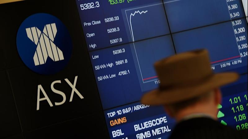 <p>The Australian share market is lower at lunchtime with banks leading losses.</p>