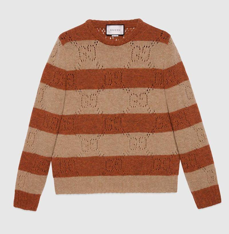 """<p><strong>Gucci</strong></p><p>gucci.com</p><p><strong>$780.00</strong></p><p><a href=""""https://go.redirectingat.com?id=74968X1596630&url=https%3A%2F%2Fwww.gucci.com%2Fus%2Fen%2Fpr%2Fmen%2Fready-to-wear-for-men%2Fsweaters-and-cardigans-for-men%2Fcrew-neck-sweaters-for-men%2Fgg-knit-striped-wool-sweater-p-645293XKBPH2668&sref=https%3A%2F%2Fwww.esquire.com%2Fstyle%2Fmens-fashion%2Fg34876694%2Fbest-new-menswear-december-5-2020%2F"""" rel=""""nofollow noopener"""" target=""""_blank"""" data-ylk=""""slk:Shop Now"""" class=""""link rapid-noclick-resp"""">Shop Now</a></p>"""