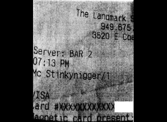 """A California steak house settled a lawsuit with a customer that claimed his <a href=""""http://www.huffingtonpost.com/2012/02/15/racist-restaurant-receipts_n_1279363.html"""" rel=""""nofollow noopener"""" target=""""_blank"""" data-ylk=""""slk:credit receipts contained several racial slurs"""" class=""""link rapid-noclick-resp"""">credit receipts contained several racial slurs</a> where his name should have been."""