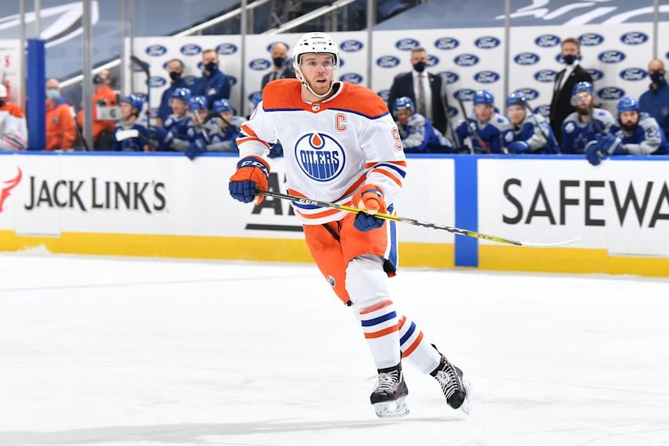 EDMONTON, AB - JANUARY 30:  Connor McDavid #97 of the Edmonton Oilers skates during the game against the Toronto Maple Leafs on January 30, 2021 at Rogers Place in Edmonton, Alberta, Canada. (Photo by Andy Devlin/NHLI via Getty Images)