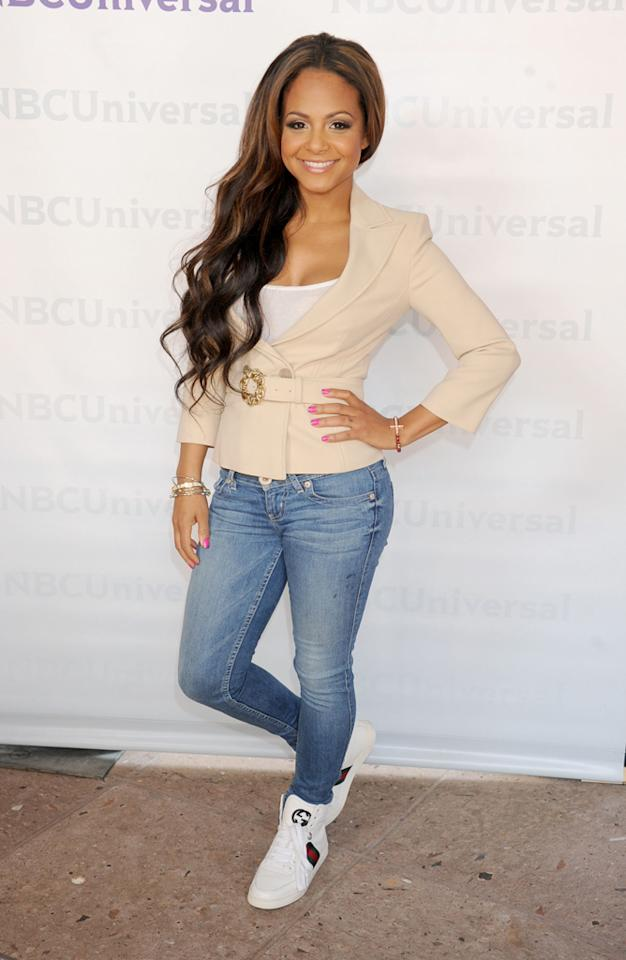 """Christina Milian (""""<a href=""""http://tv.yahoo.com/voice/show/47012"""">The Voice</a>"""") arrives at NBC Universal's 2012 Summer Press Day at The Langham  Huntington Hotel and Spa on April 18, 2012 in Pasadena, California."""