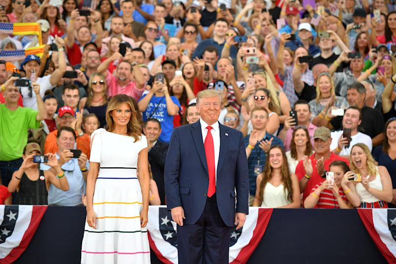 """President and Melania celebrate the Fourth of July at the """"Salute to America"""" event in Washington, D.C. (Photo: Getty Images)"""
