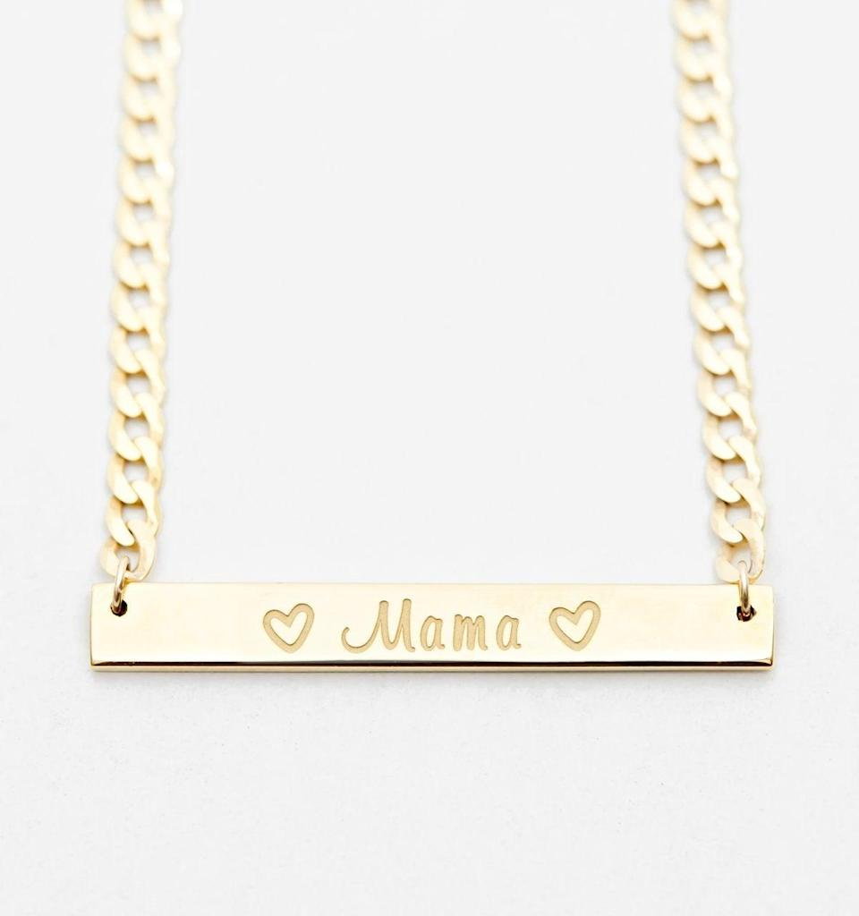 "<h2>Rellery Cuban Link ""Mama"" Bar Necklace</h2><br><br><strong>Rellery</strong> Cuban Link Mama Bar Necklace, $, available at <a href=""https://go.skimresources.com/?id=30283X879131&url=https%3A%2F%2Frellery.com%2Fproducts%2Fmama-necklace"" rel=""nofollow noopener"" target=""_blank"" data-ylk=""slk:Rellery"" class=""link rapid-noclick-resp"">Rellery</a>"